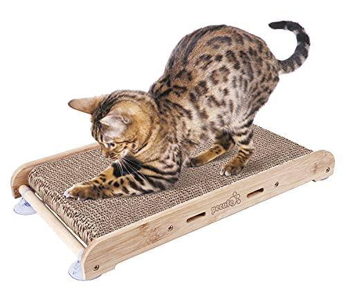 Pecute Rascador para Gatos de Cartón con Hierba gatera Alfombras Rscadoras Soporte de Bambú Natural con 4 Fuertes Ventosas Reemplazable (Rascador para Gatos con Soporte) 🔥
