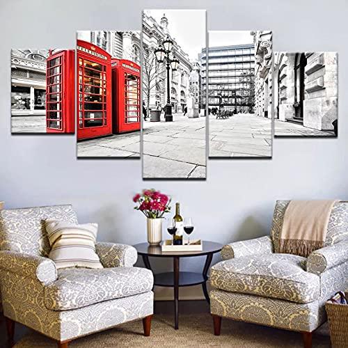 Diseño artístico Cabina telefónica roja Paisaje Urbano 5 Piezas Carteles de Pared Lienzo Pintura artística para Sala de Estar decoración del hogar Mural Pintura Impresa Decorar el Arte casero