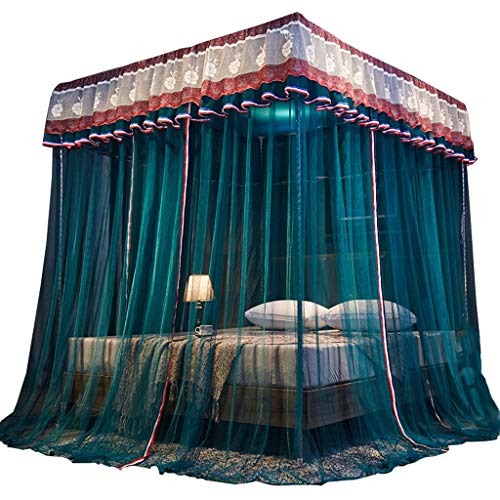 DUOER home Doppelbetten Bettwäsche Kinder- und Erwachsenen-Baldachin-Vorhänge 4 Eck-Gaze-Tagesdecken Elegante und Bequeme drapierende Quadrate Schlafzimmer-Dekoration 4 Farben Großes Moskitonetz