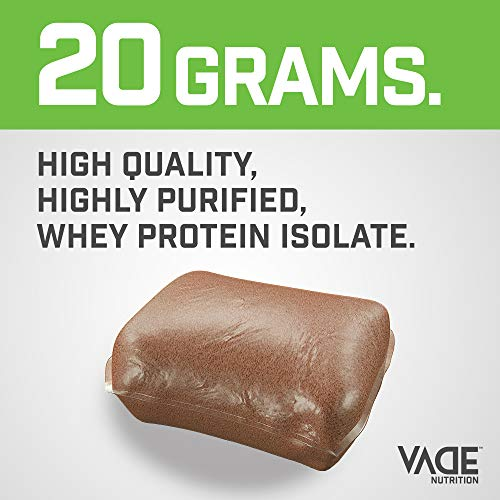 Vade Nutrition Dissolvable Protein Packs | Chocolate Whey Isolate Protein Powder, On-The-Go, Low Carb, Low Calorie, Lactose Free, Gluten Free, Fat Free, Sugar Free, Lean, Great Tasting, 30 Servings