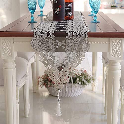 KMILE Tischflagge Europäischen Stil Schwarz Spitze Tisch Flagge Eimer Cover Tuch Couchtisch Fahne Beige Tischdecke