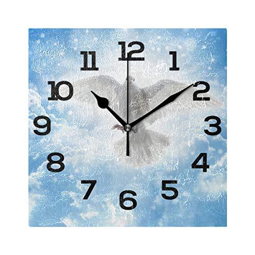 AMONKA - Reloj de pared cuadrado de Pentecostés con paloma de espíritu santo, silencioso, para decoración del hogar, sala de estar, dormitorio, cocina, escuela, oficina