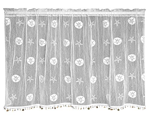 Heritage Lace Sand Dollar Tier with Trim, 45 by 24-Inch, White