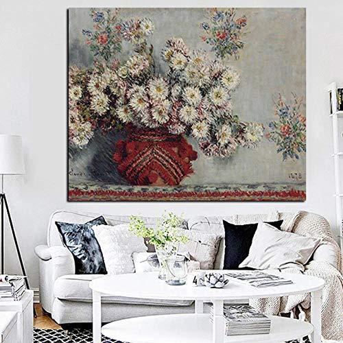 Unbekannt MFMing Drucken Stillleben Wilde Chrysanthemen Vase Monet Blumen Ölgemälde Leinwand Kunst Sofa Wandbild für Wohnzimmer-40x60cm ohne Rahmen