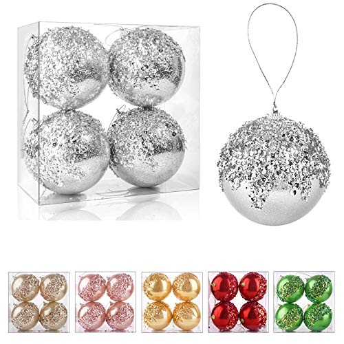 ZHANYIGY 4' Christmas Ball Ornaments, 4pc Set Silver Shatterproof Christmas Decorations Tree Balls for Xmas Trees Wedding Party Holiday Decorations