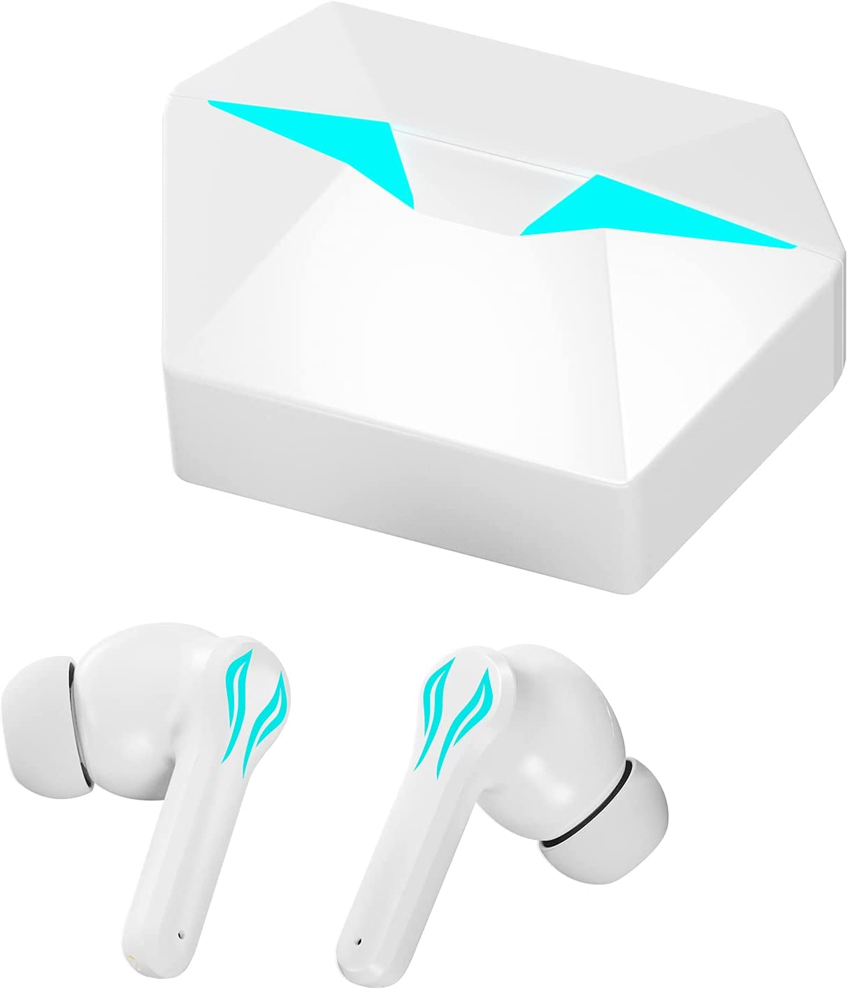 Wireless Earbuds,NMPB Bluetooth Headphones with Cool Light Effects and Music & Game Modes,Wireless Earphones with 48ms Ultra Low-Latency 30H Playtime Gaming Earphones for iPhone&Android (White)