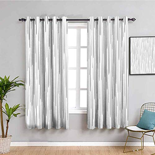 Lake House Decor Room Darkened Curtain Comic Books Manga Vertical Dense Droplet Drawing with Tall Down Strokes Image 2 Panel Sets W55 x L39 Inch Black