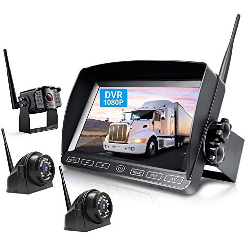 ZEROXCLUB Digital Wireless Backup Camera System Kit,HD 1080P & IP69 Waterproof Wireless Reverse Rear Side View Camera + 7'' DVR Split Monitor with Touch Button for RV/Truck/Trailer/Bus/Pickup/Van-B3C
