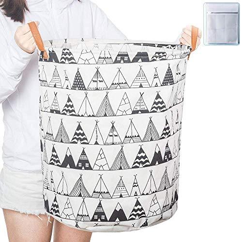 ランドリーバスケット ランドリーバッグ 洗濯かご おりたたみ 洗濯カゴ 収納ボックス ランドリーボックス おもちゃ収納 おしゃれ バケツ (直径40cm×高さ50cm テント柄)
