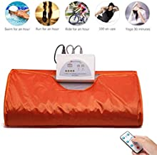 Uttiny Far Infrared Sauna Blanket, 70.8x31.4 Inches 110V 2 Zone Waterproof Detoxification Blanket with Safety Switch Used As Home Sauna for Body Shape Slimming Fitness (Orange) (Orange)