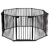 COSTWAY Barrera de Seguridad para Niños Perro Mascota Rejilla de Protección Plegable para Chimenea Escalera Puerta (Negro)
