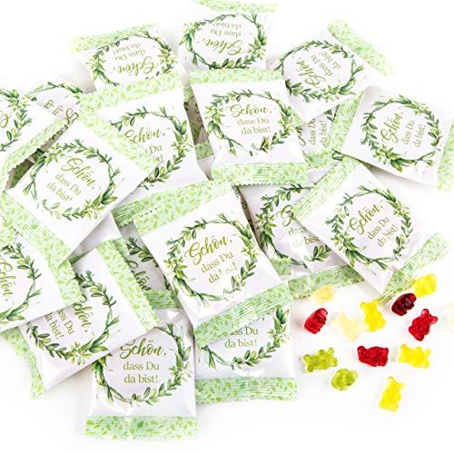 Logbuch-Verlag 25 Give-Aways Gummibärchen Päckchen grün weiß floral - Gastgeschenk Hochzeit SCHÖN DASS DU DA BIST - Hochzeitsdeko Süßigkeit