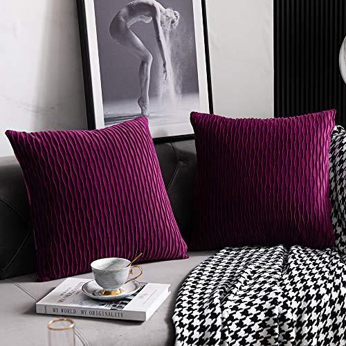 DEZENE Fundas de Almohada Púrpura de 40 cm x 40 cm: 2 Fundas de Cojín Decorativas Cuadradas de Terciopelo a Rayas Originales para Sofá de Dormitorio