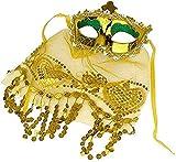 Inception Pro Infinite Máscara veneciana – Mujer – Sexy – Color dorado y verde – Máscara – Venecia – Velo – Encaje – Para Navidad y cumpleaños – Idea regalo – Halloween – Carnaval