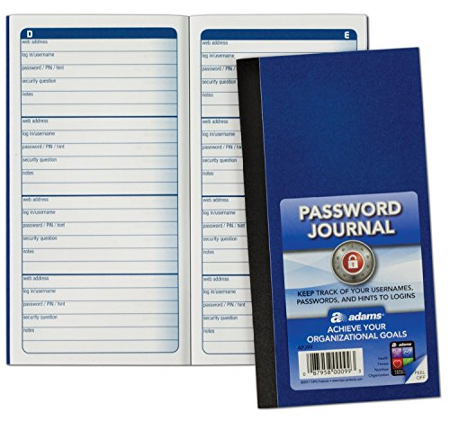 Adams Password Journal, 6.25 x 3.25 Inches, Pack Of 3