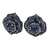 Eleganze Silver Plated Rose Flower Earring Black Blue Crystal Women Fashion Enchanted Stud Earrings Rhinestone Teardrop Flower Earrings