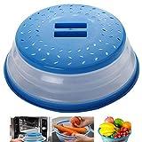 Tapa Microondas Plegable Colador Colador Plegable Para Microondas Silicona Prueba Salpicaduras Cubierta Plegable Cubierta Plegable Para Prueba Salpicaduras Para Colar, Drenaje y Enjuague Frutas(Azul)