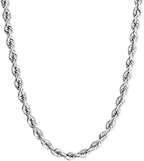 Oxford Diamond Co Sterling Silver Rope Chain Necklace Solid 2mm Wide 20-24