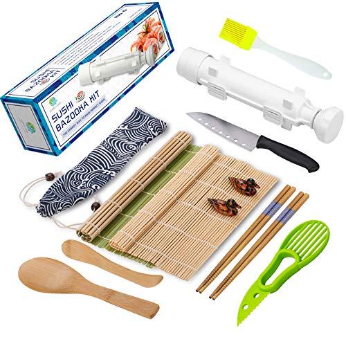 Sushi Making Kit, All In One Sushi Bazooka Maker with Bamboo Mats, Bamboo Chopsticks, Avocado Slicer, Paddle, Spreader, Sushi Knife, Chopsticks Holder and Cotton Bag, Gift Box
