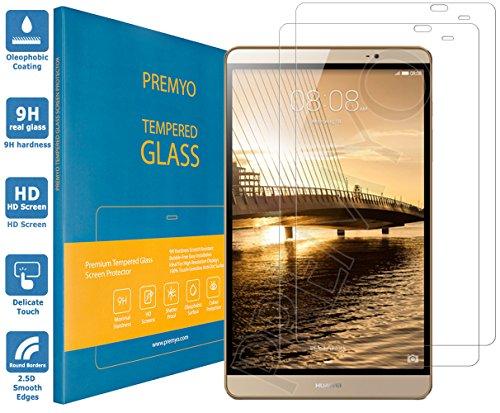 PREMYO 2 Piezas Cristal Templado Protector de Pantalla Compatible con Huawei MediaPad M2 8.0 Dureza 9H Bordes 2,5D Sin Burbujas contra Arañazos