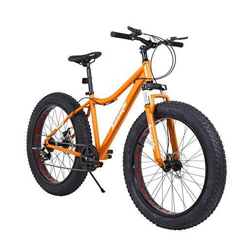 hosote Fat Tire Mens Mountain Bikes, 26 inch 7 Speed Double Disc Brake Snow Bike, Suspension Fork High-Carbon Steel Frame Sand Bike