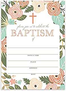 Whimsical Baptism Invitations with Envelopes ( Pack of 25 ) Christening Church Mass Reception Invites Modern Floral Fill In The Blank Large 5x7