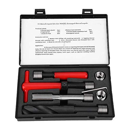 Bigking Gewindereparatur-Kit, 11-teiliges Gewindereparatur-Kit Edelstahl-Spiralbohrer mit Gewindebohrer Gewindeeinsatzwerkzeug M16x2