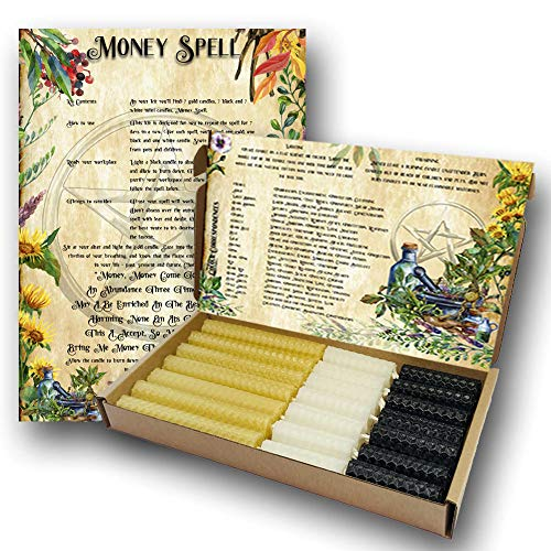 Phoenix Candle Company 7 Day Money Spell Candles Set - Gold - Natural Beeswax - Hand-rolled - For Witch's - Pagan - Wiccan - Supplies