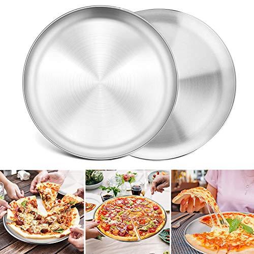 Pizzablech 2er-Set, BESTZY Edelstahl Rund Pizzaform Pizza Backblech zum Backen im Ofen, Gesund & Langlebig, Leicht zu reinigen & Spülmaschinengeeignet - ∅ 20cm