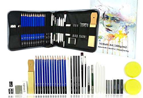Limidx Skizzen Set 40 teiliges Zeichenset zum Zeichnen & Skizzieren - inkl. Zeichenmappe und Handbuch für die richtige Anwendung von Zeichenzubehör & Techniken