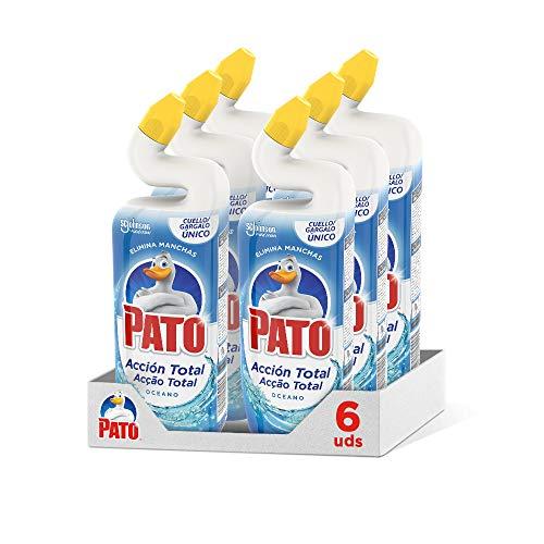 PATO WC Power Fragancia Océano, Limpiador Quitamanchas Para Inodoro, Azul, 750 Ml, Pack de 6 Unidades, 4500 Mililitros