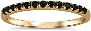 Yellow Gold Plated Black Onyx Eternity Band .925 Sterling Silver Ring Sizes 3-12