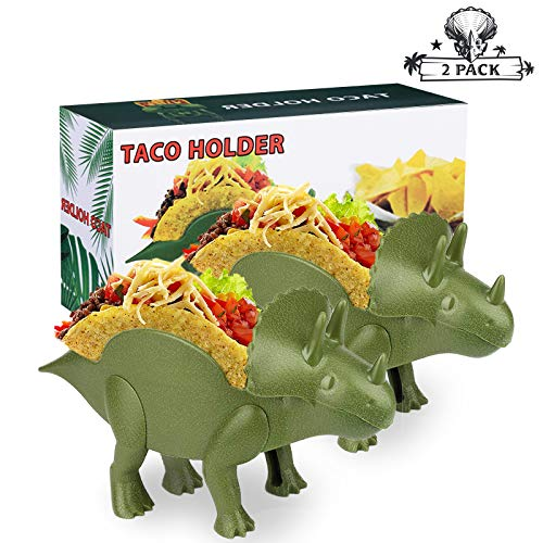 (2 PACK) Triceratops Taco Holders, Dinosaur Taco Holder Set Perfect Gift for Young People, Double-Slotted Dino Taco Holders for Kids Food Safe Quality Taco Plates with Fun Meal-Time