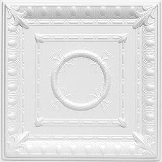 A la Maison Ceilings 1449 Romanesque Wreath- Styrofoam Ceiling Tile (Package of 8 Tiles), Plain White