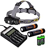Fenix HL55 900 Lumen CREE XM-L2 T6 LED Headlamp with Fenix ARE-C2 four bays advanced digital battery charger, 2 X Fenix 18650 ARB-L2S 3400 mAh rechargeable batteries and two EdisonBright CR123A Lithium batteries