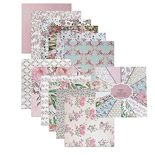 BIKHYY 24 Blatt Bastelpapier Origami Dekorpapier mit Blumen Vintage Design 6x6 Zoll Gemustertes Karton für Scrapbooking DIY Handwerk Foto Hintergrund Deko Blumen