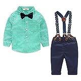 Conjunto Bebe Niño Ropa Pascua Traje Verano Vestido Bautizo Esmoquin Camiseta Verde y Pantalon y Corbata de Moño 3-4