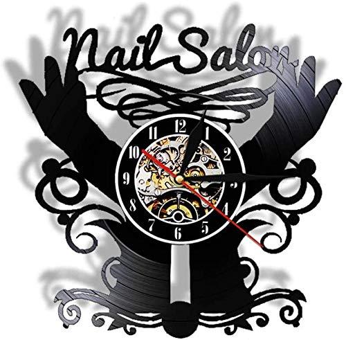 WJUNM Salón de uñas Disco de Vinilo Reloj de Pared Estudio de Belleza Tienda de uñas Moderna decoración Reloj de Bolsillo Pulido Reloj de Corte de uñas Pulido