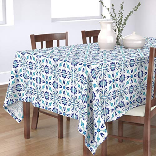 Roostery Tablecloth, Spanish Tile Traditional Blue and White Moroccan Moorish Turquoise Pool Backsplash Kitchen Print, Cotton Sateen Tablecloth, 70in x 70in