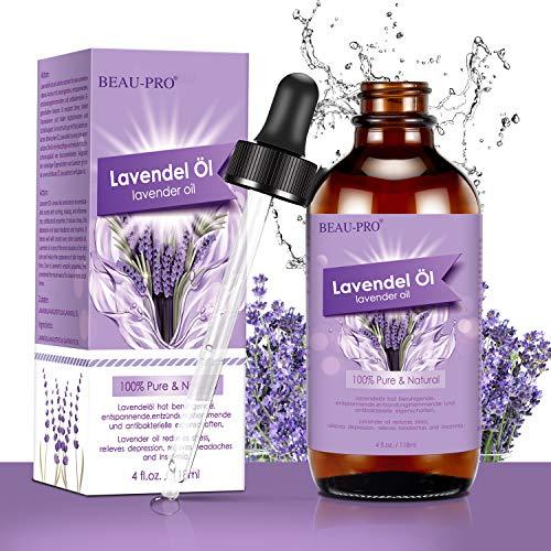 Aceite esencial de lavanda 118 ml, BEAU-PRO 100% puro y natural aceites esenciales, aceite de masaje y aceite aromático para aromaterapia, masaje, ayuda para dormir