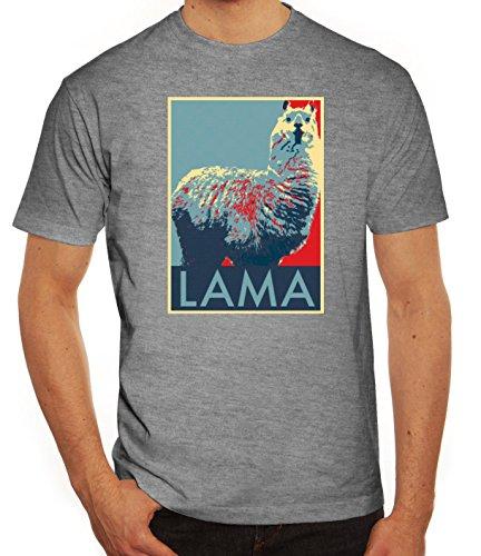 Lama Graffiti T-Shirt im Streetart Schablonen Style für Lama Alpaka Freunde, Größe: XXL,Graumeliert