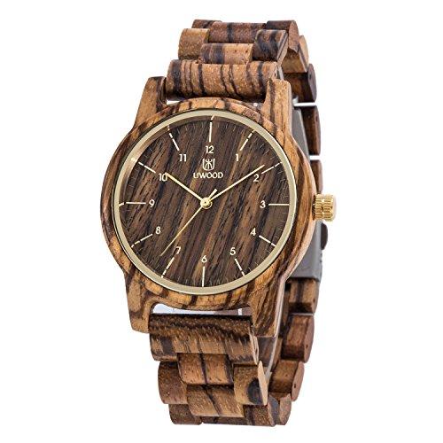 Zantec Orologio al quarzo da uomo in legno naturale, stile classico, cinturino in legno, orologio da polso in legno zebrato, idea regalo