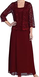Womens Lace Mother of The Bride Dress Formal Gowns with Jacket