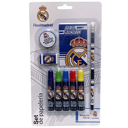 Real Madrid Set de Papelería 9 pcs Accesorios de Sobremesa Complementos de Oficina, Multicolor (Multicolor)