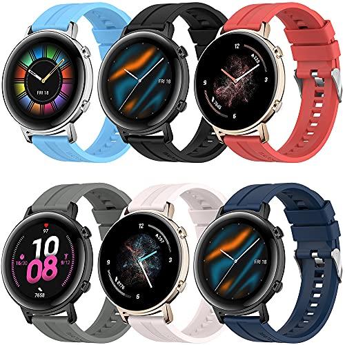 Correa Compatible con Huawei Watch GT2 42mm, 20mm Silicona Correa para Huawei Watch 2 Sport/Honor Watch Magic 2 42mm/Garmin Venu/Forerunner 245/645/Galaxy Watch 3 41mm/Galaxy Watch Active 2