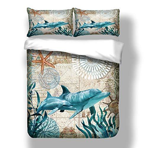 Sticker superb Misterio Mar Animal Viajar Mapa Ropa de Cama con Funda de Almohada, Azul 3D Caballo de mar Delfín Funda de edredón Invierno Otoño (Delfín, 220x240cm para Cama 150cm)