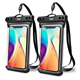 YOSH Waterproof 7.5 Inch Phone Case Universal Water Proof Phone Pouch IPX8 Dry Bag Compatible for iPhone 12 Pro Max 11 XR XS X 8 7 6 SE Galaxy Pixel for Beach Kayaking Travel Bath Underwater [2-Pack]
