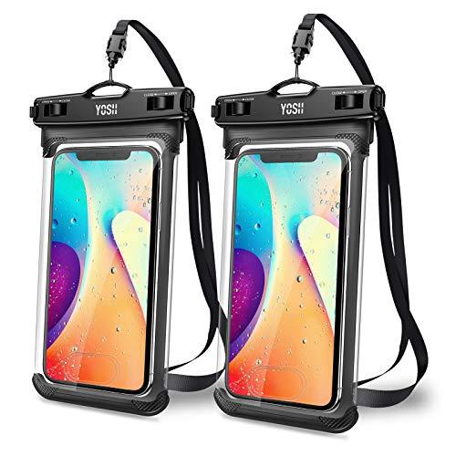 YOSH Funda Impermeable Móvil IPX8 2 Unidades, Bolsa para Móvil Estanca a Prueba de Agua para iPhone 12 Pro MAX 11 XR X Galaxy Note 20 S20 Ultra Xiaomi Poco X Note 9 Huawei Mate40 Pro hasta 7.5''