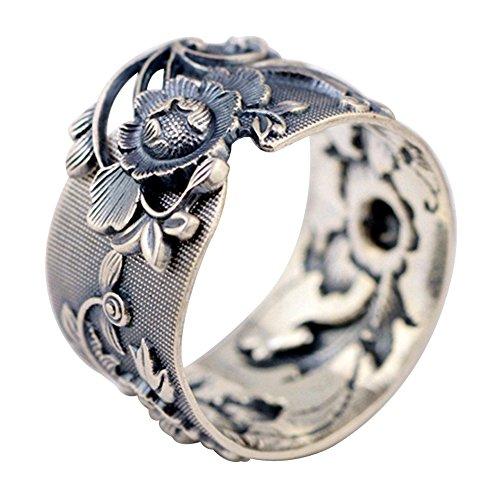 Damen Schwarz Breit 990 Sterling Silber Orientalische Pfingstrose Blume Ring 15mm Verstellbar Größe 58-60