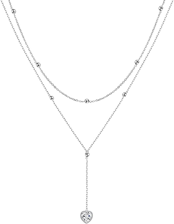 Layered Simple Y Necklace Minimalist lariat necklace Set of 2 Sterling silver Lariat necklace Y Christmas Gift Thin Bar necklace